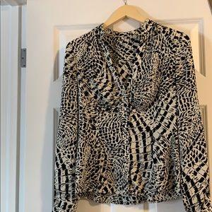 Silk Elie Tahari v neck blouse. Animal print